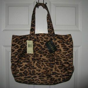 Lauren Ralph Lauren Leopard Tote Bag NWT